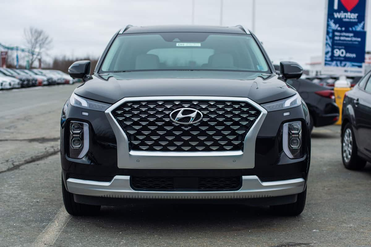 An front photo of a Hyundai Palisade on a parking lot, What Is The Hyundai Palisade Premium Package?