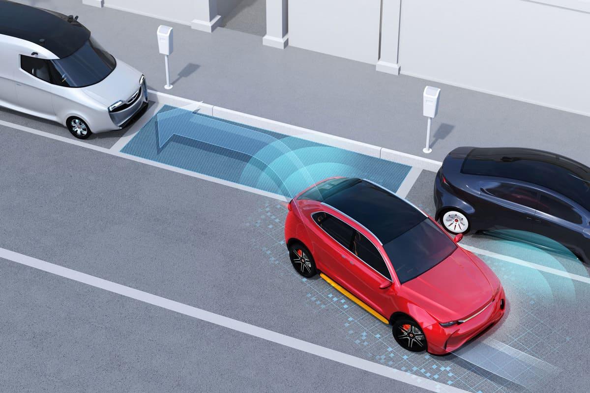 Autonomous SUV is parallel parking into parking lot at roadside