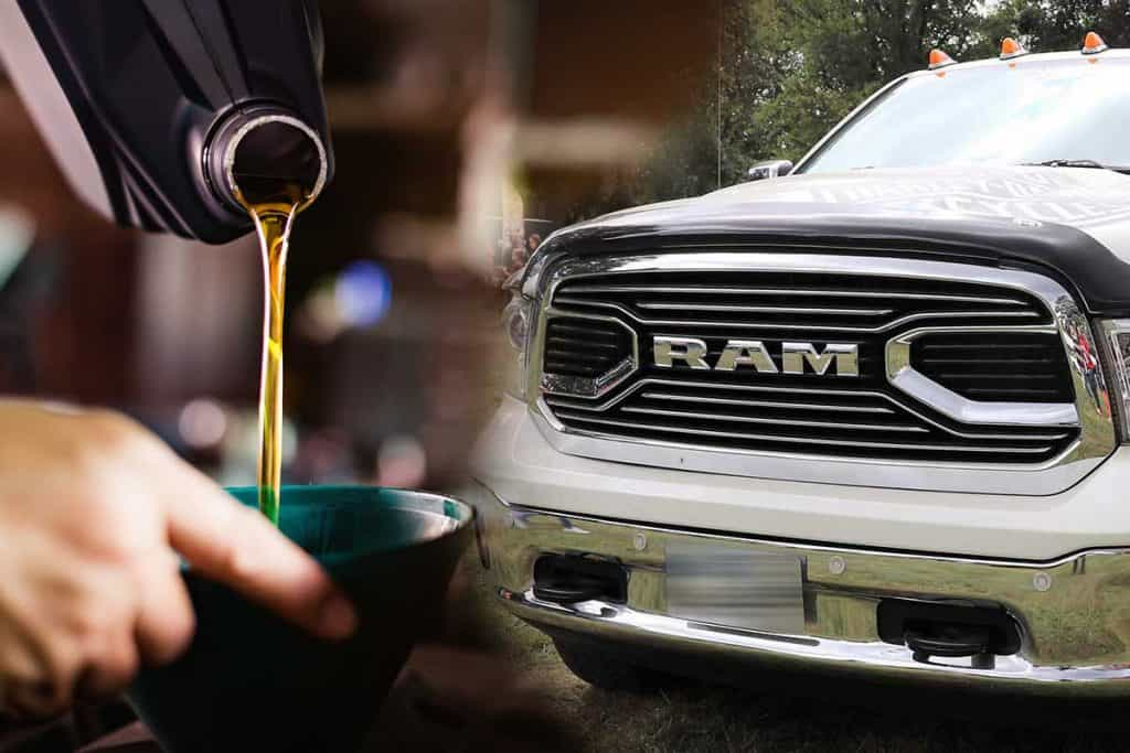 Collage of a RAM 1500 HEMI 5.7 L and a mechanic pouring oil into car engine, What's The Best Oil For A Hemi 5.7 Engine?