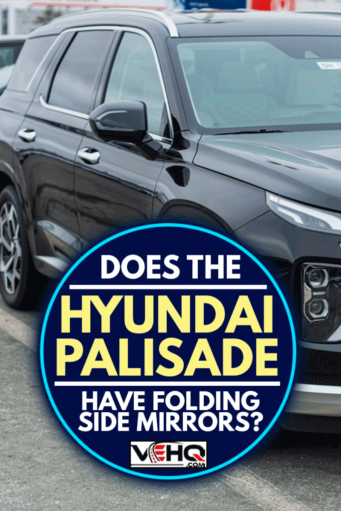 A close up photo of 2020 Hyundai Palisade with folding side mirror, seven passenger sport utility vehicle at a dealership, Is The Hyundai Palisade AWD?