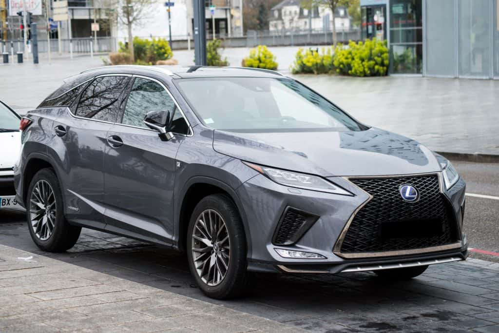 Front view of grey Lexus rx 450 parked in the street