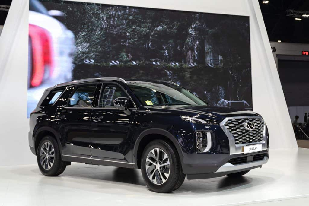 Hyundai Palisade Exclusive SUV with beautiful exhibition design boot show on display in 42th Bangkok International Motor Show, How Much Does A Hyundai Palisade Weigh?