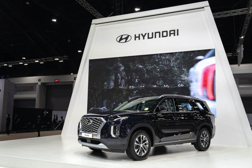 Hyundai Palisade Exclusive SUV with beautiful exhibition design boot show on display in 42th Bangkok International Motor Show , Does The Hyundai Palisade Have Cooled Seats?