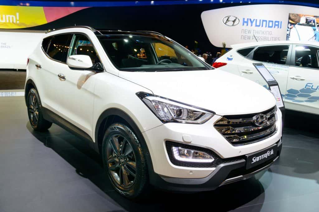 Hyundai Santa Fe crossover SUV car on display