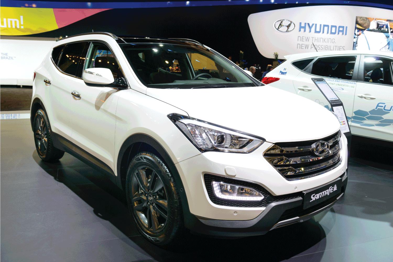 Hyundai Santa Fe crossover SUV car on display at the Brussels motor show