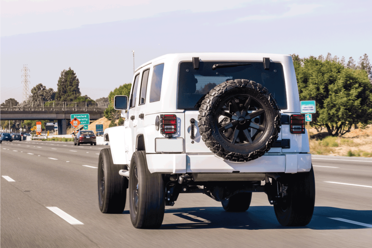 Jeep vehicle driving on a freeway in San Francisco Bay Area