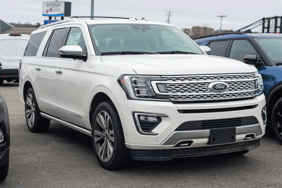 New model Ford Expedition seven passenger suv at a dealership.