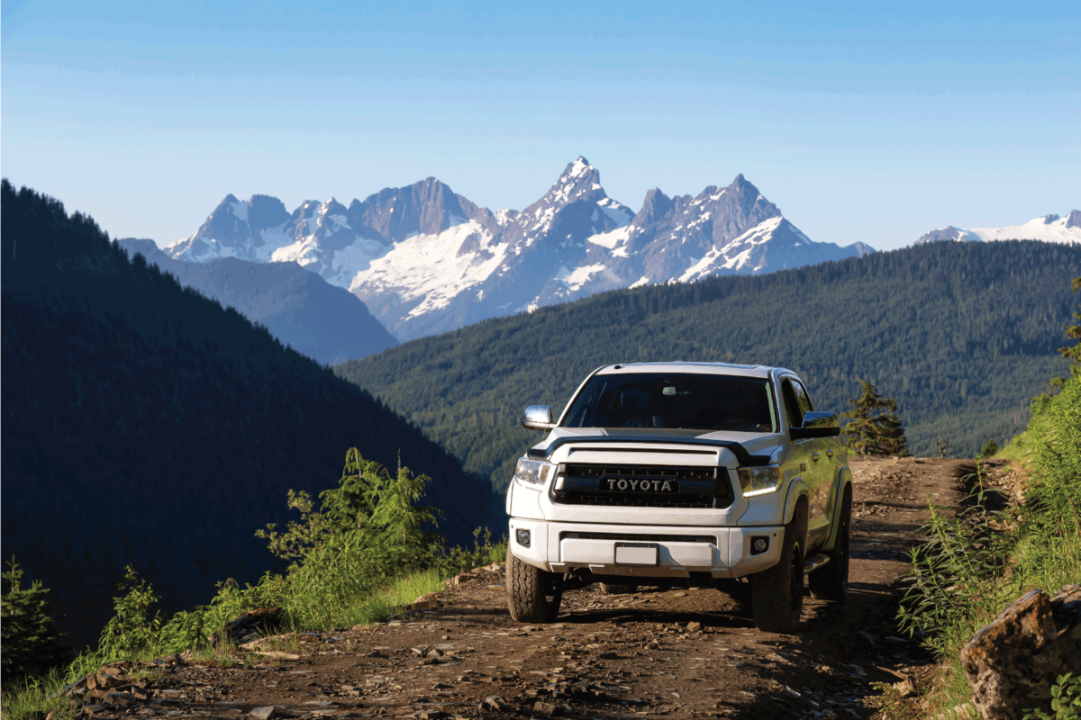 Toyota Tacoma riding on the 4x4 Offroad Trails in the mountains