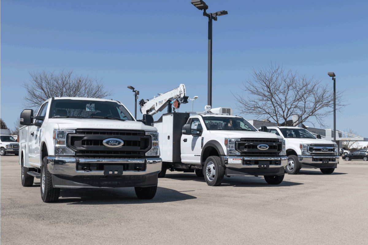 ford Super Duty F350 truck display at a dealership. The F-350 is available in many configurations with dual axles, buckets and utility trucks