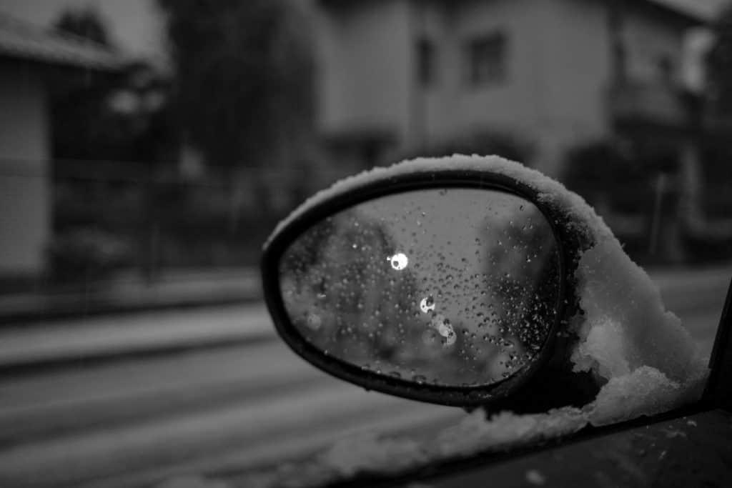 frozen rear view mirror