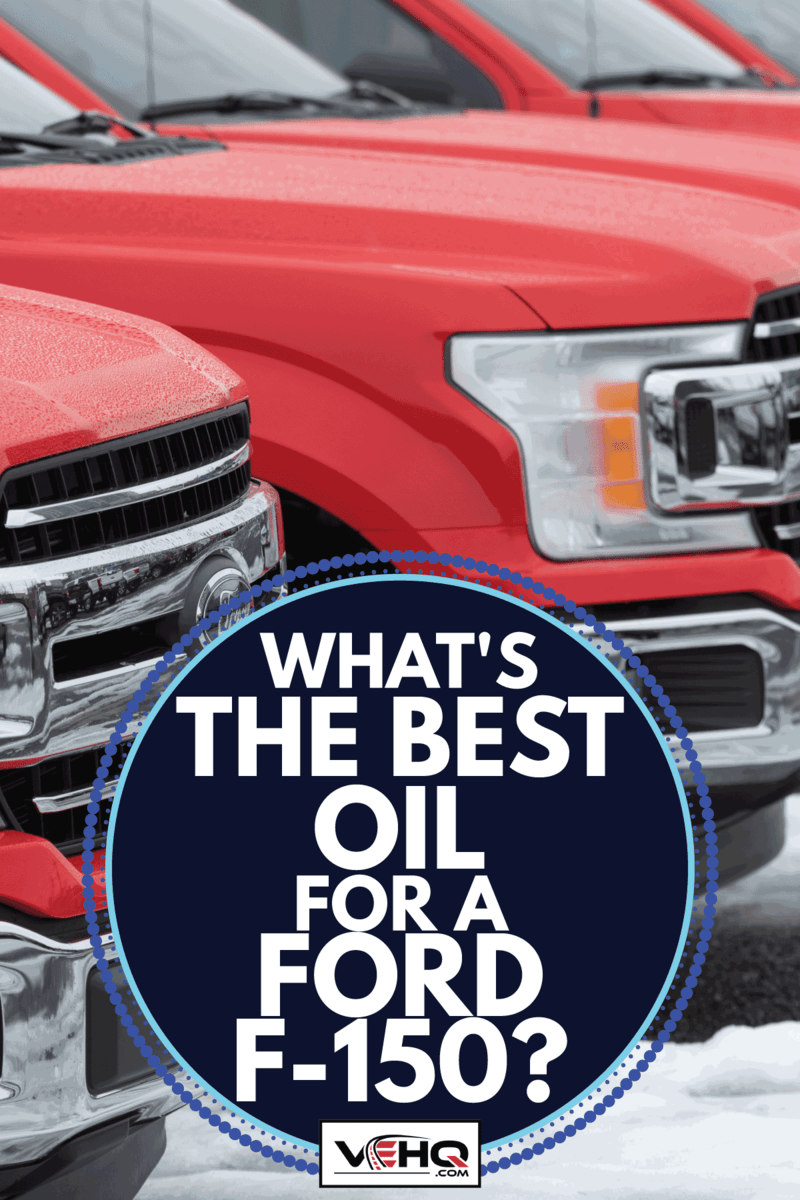 red f-150 on the dealership parking lot under the snow. What's The Best Oil For A Ford F-150
