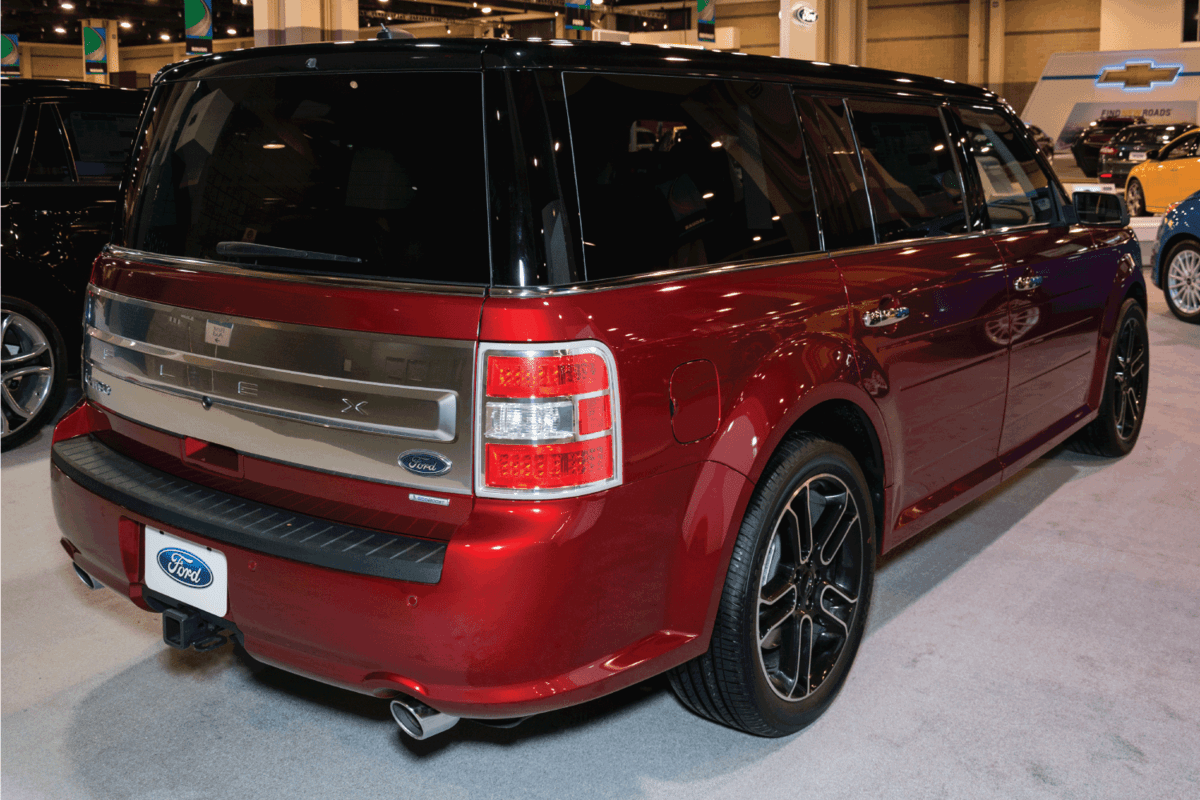 red ford flex on display in Charlotte auto show, backside photo.