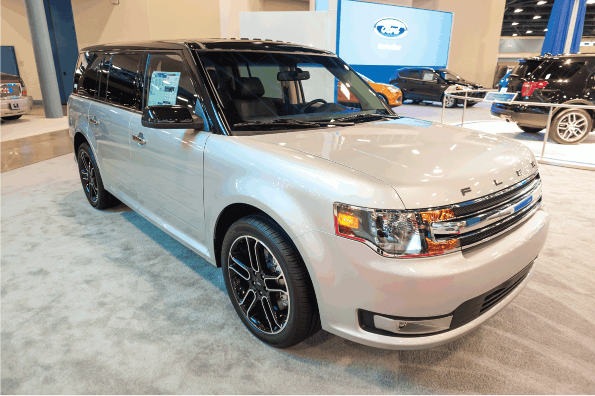 silver ford flex on display at a Miami auto show