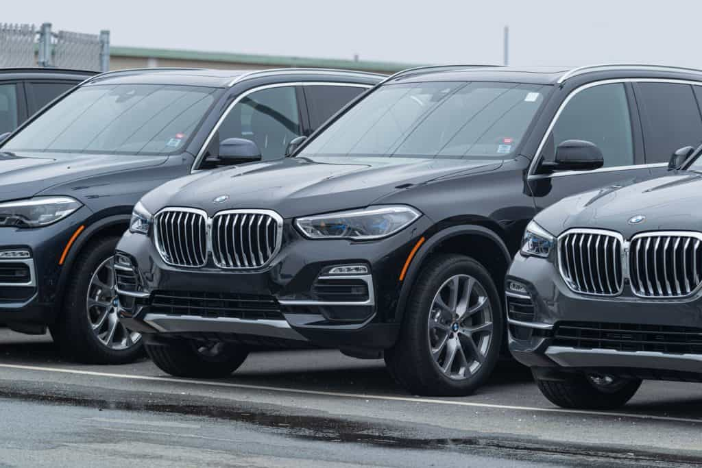 A group of BMW X5s parked outside a dealership