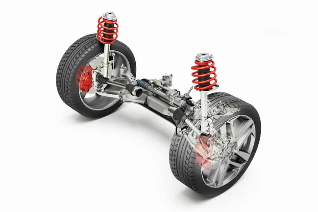 A multi-link suspension of a car on a white background
