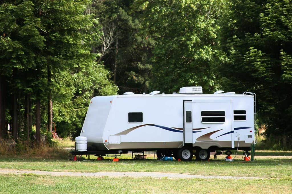 Camping with RV near the forest