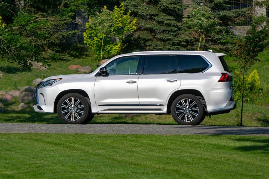 Lexus LX570 parked on a road. This model is the largest SUV from Lexus (Toyota Group)