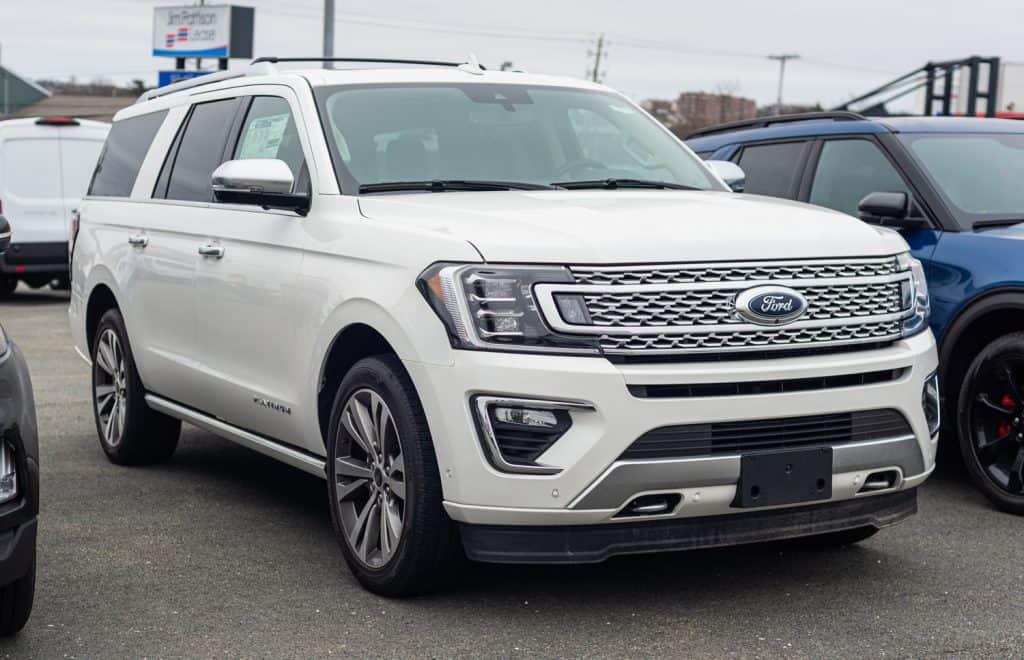 - New model Ford Expedition seven passenger suv at a dealership.