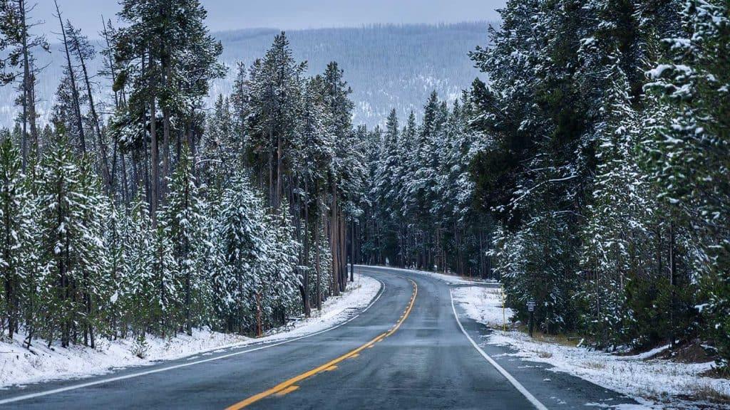 On the road in winter season