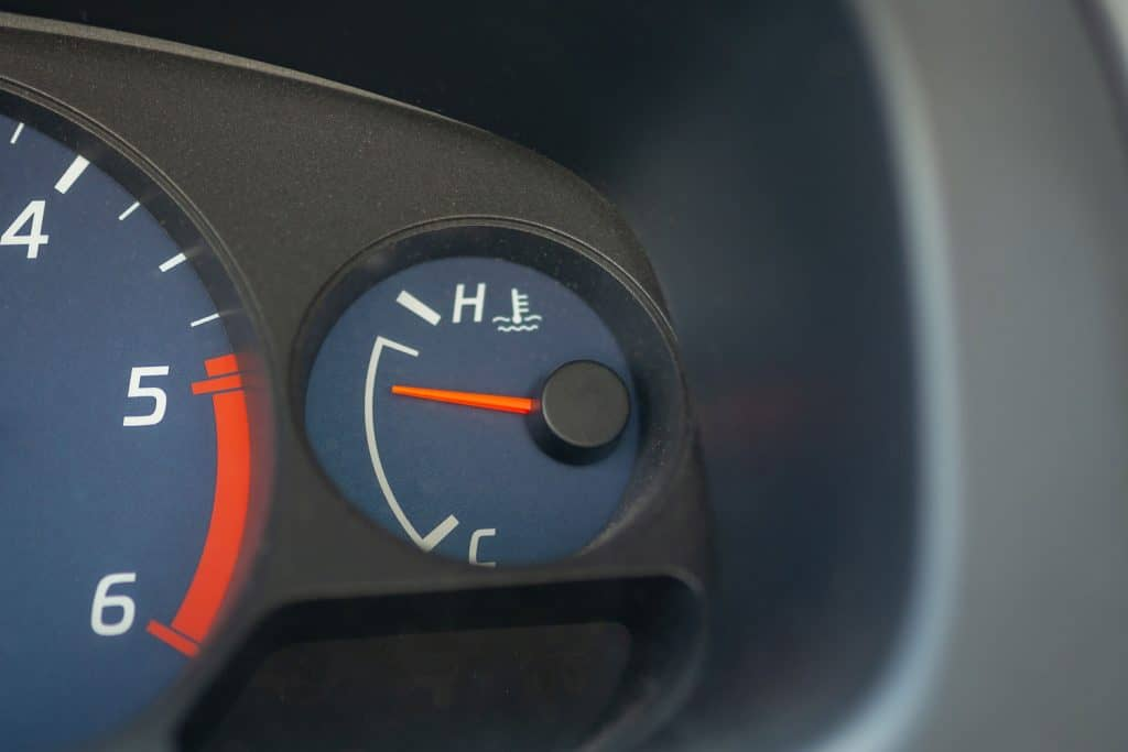 The temperature gauge of a car