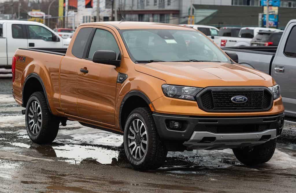 2020 Orange Ford Ranger pickup truck at a dealership