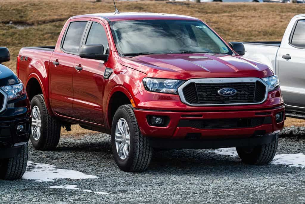 A 2020 Red Ford Ranger pickup truck at a Ford dealership