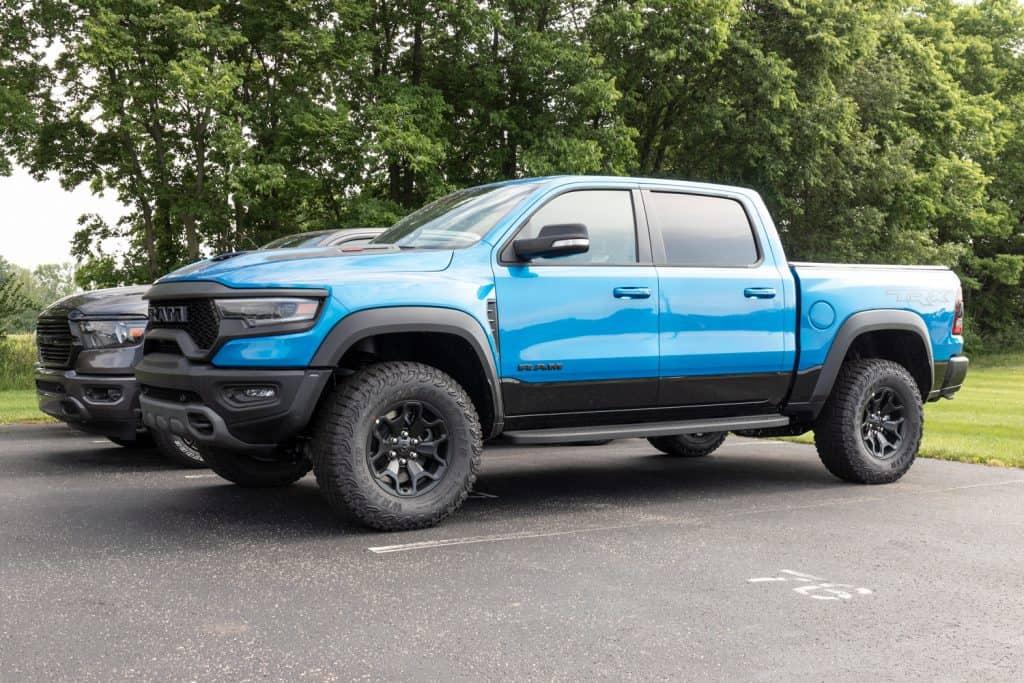 A blue Dodge Ram truck
