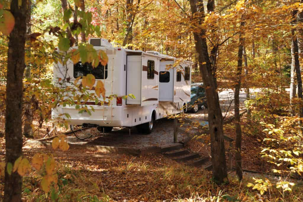 A camper van parked in a designated parking area for camping, How Big Is An RV Septic Tank?