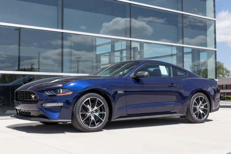 A gorgeous Ford Mustang GT 500 parked outside a huge building, What Ford Mustang Has The Most Horsepower?