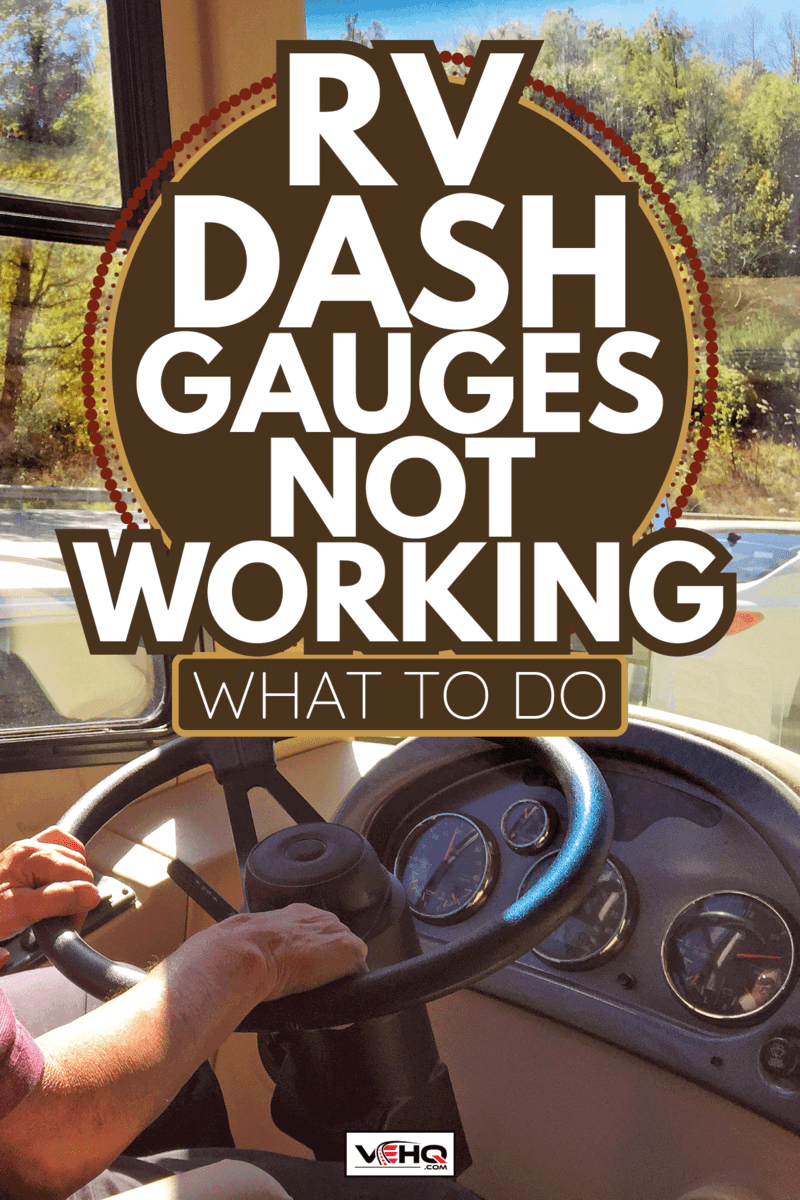 A senior man drives a 36' foot long motor home on the highway in autumn. RV Dash Gauges Not Working - What To Do