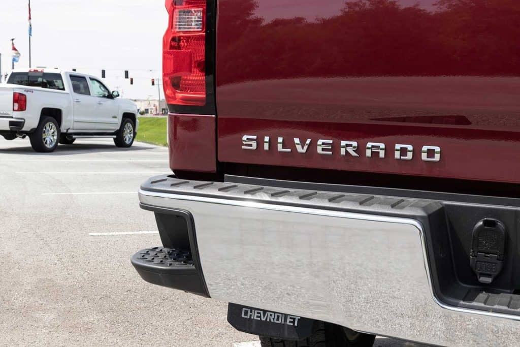 Back of a red Chevrolet Silverado 1500