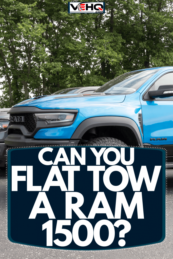 A huge blue colored dodge ram 1500 photographed on the parking lot, Can You Flat Tow A Ram 1500?