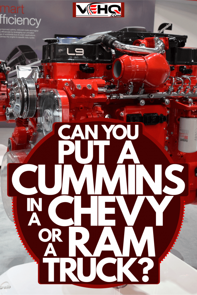 An efficient cummins red paitned engine at a car show, Can You Put A Cummins In A Chevy Or A Ram Truck?