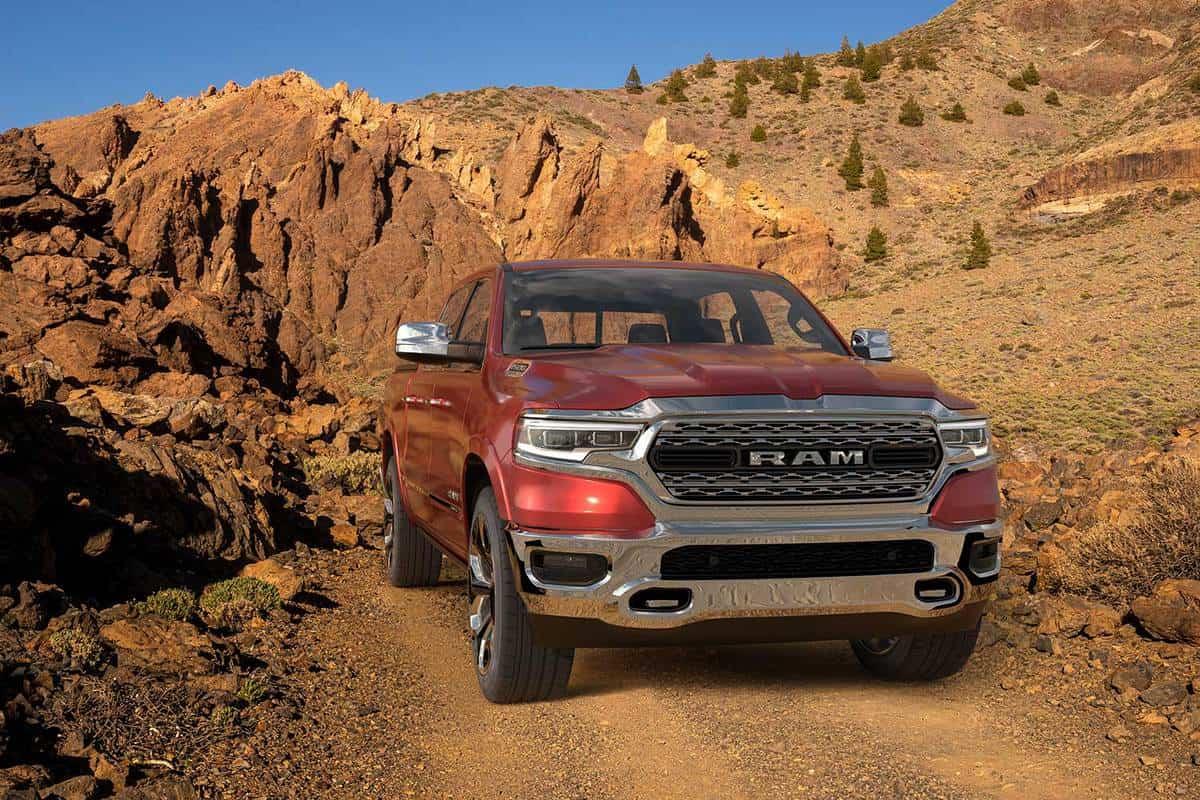 Dodge RAM 1500 on rocky mountains