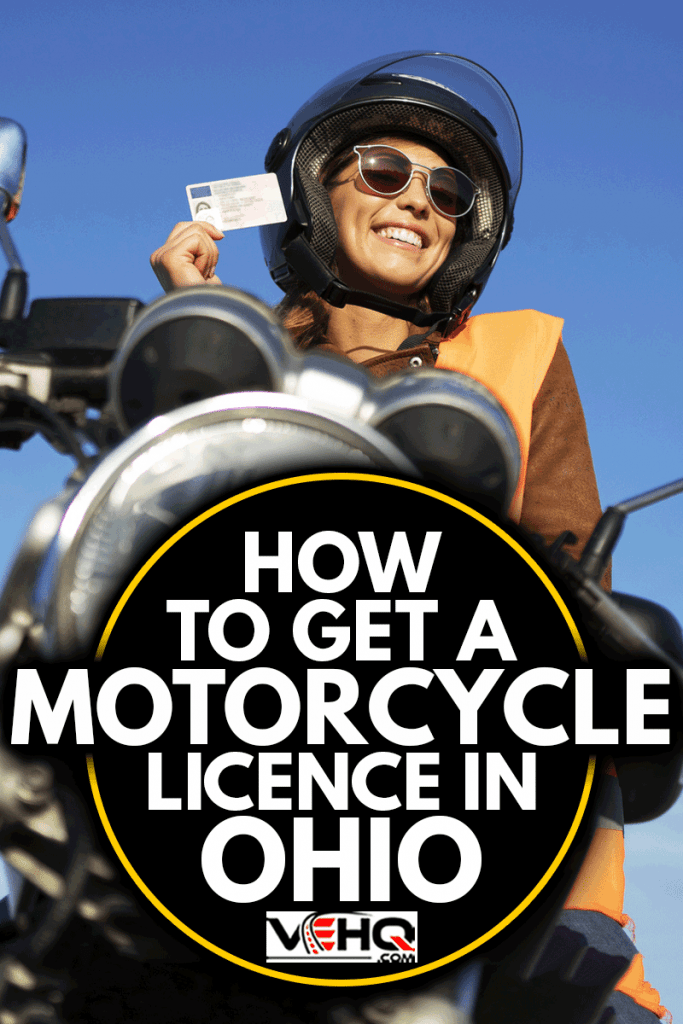 Motorcycle riding school and courses. Student with helmet and reflective vest riding motorcycle on class, How To Get A Motorcycle License In Ohio