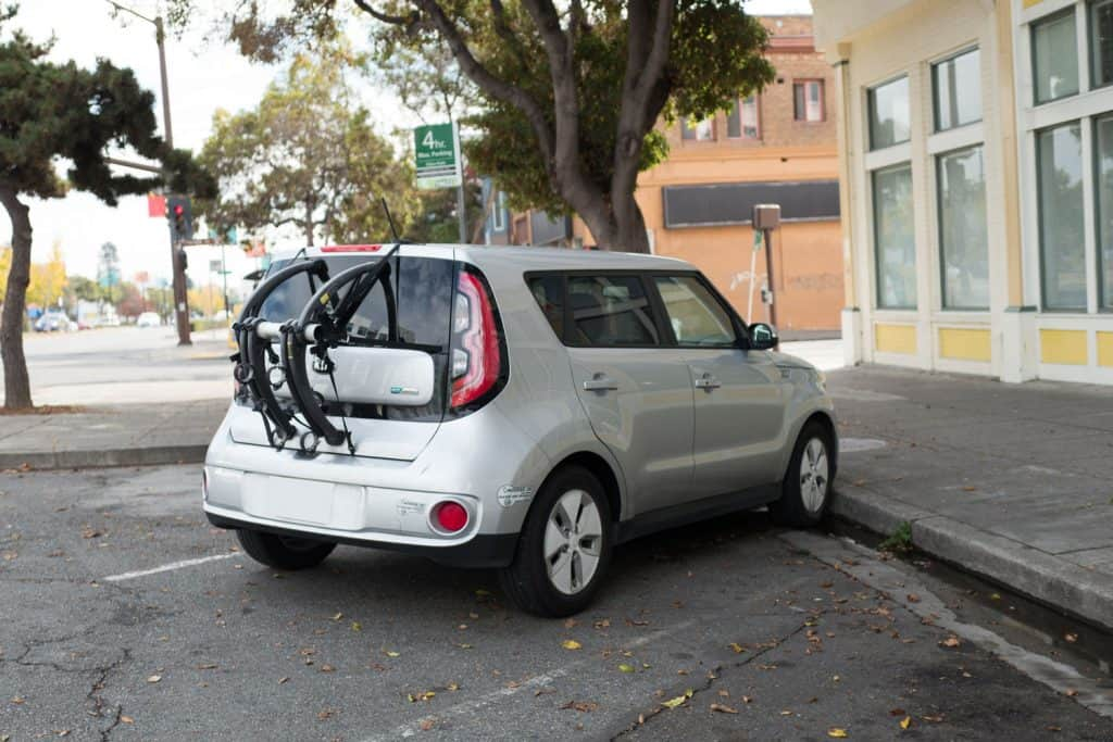 Kia Soul EV, an electric car from automaker Kia, with Clean Air Vehicle decal visible