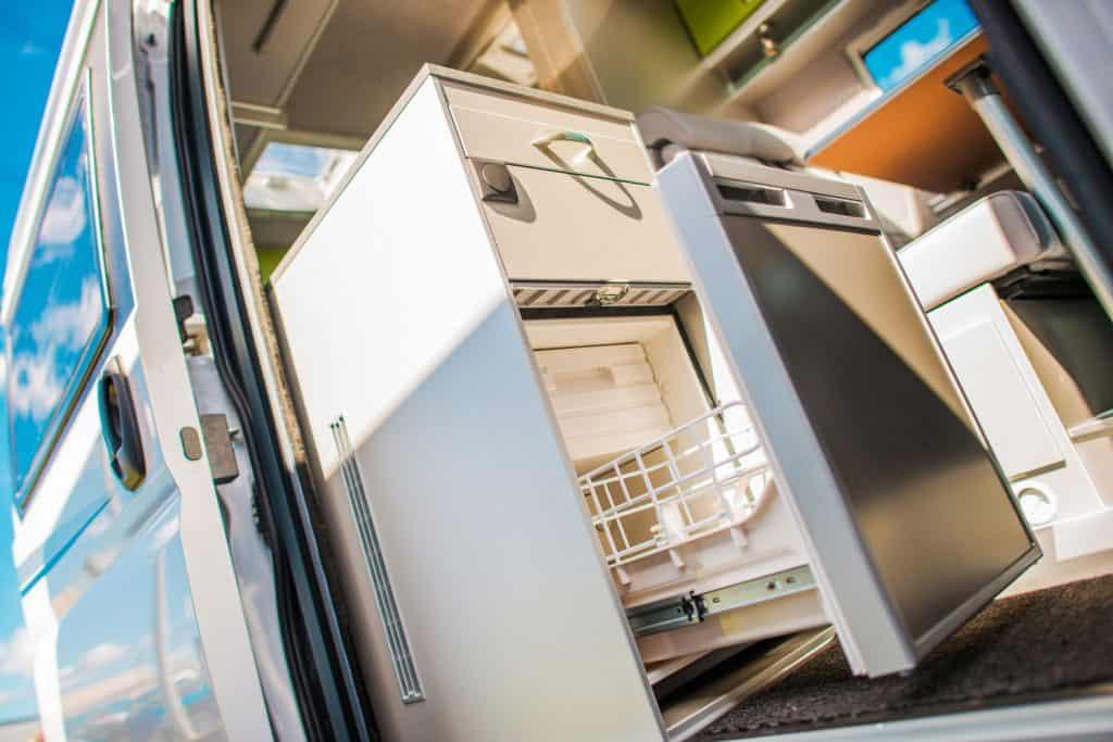 Modern Camper Van 12V Refrigerator. RVing and Food Storage Theme