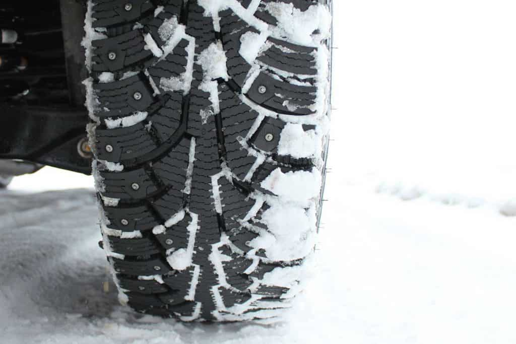 Studded snow tires in the winter