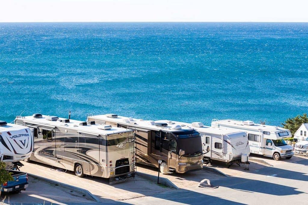 Winter RV camping view on beautiful coast