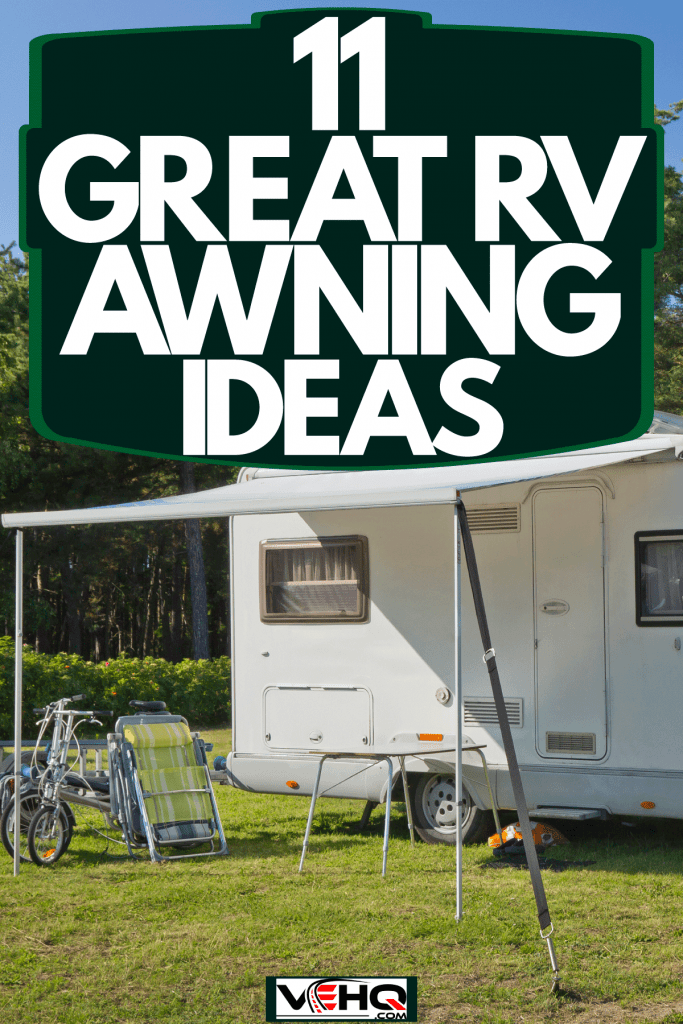 Two motorhome parked next to each other with its awning deployed and chairs set up outside, 11 Great RV Awning Ideas