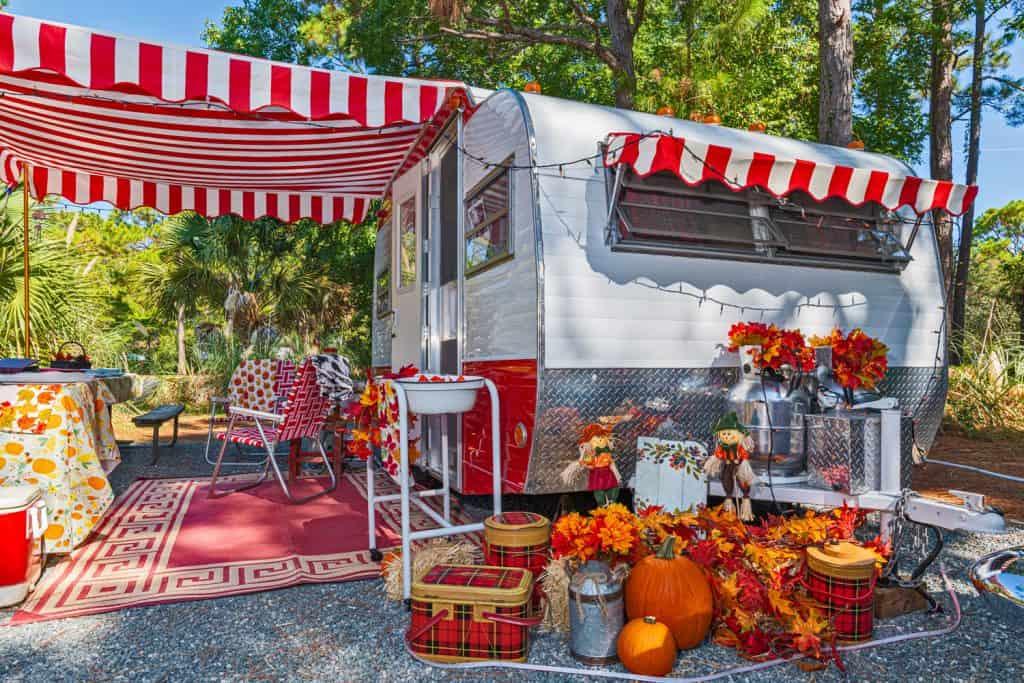 A camper van all dressed up for Halloween