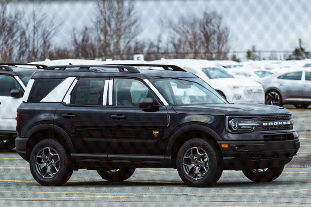 A luxurious black color Ford Bronco on the parking lot