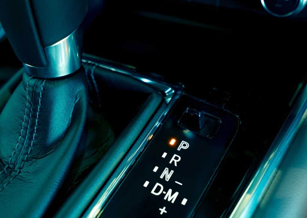 Automatic transmission gear shift inside modern and sport design car