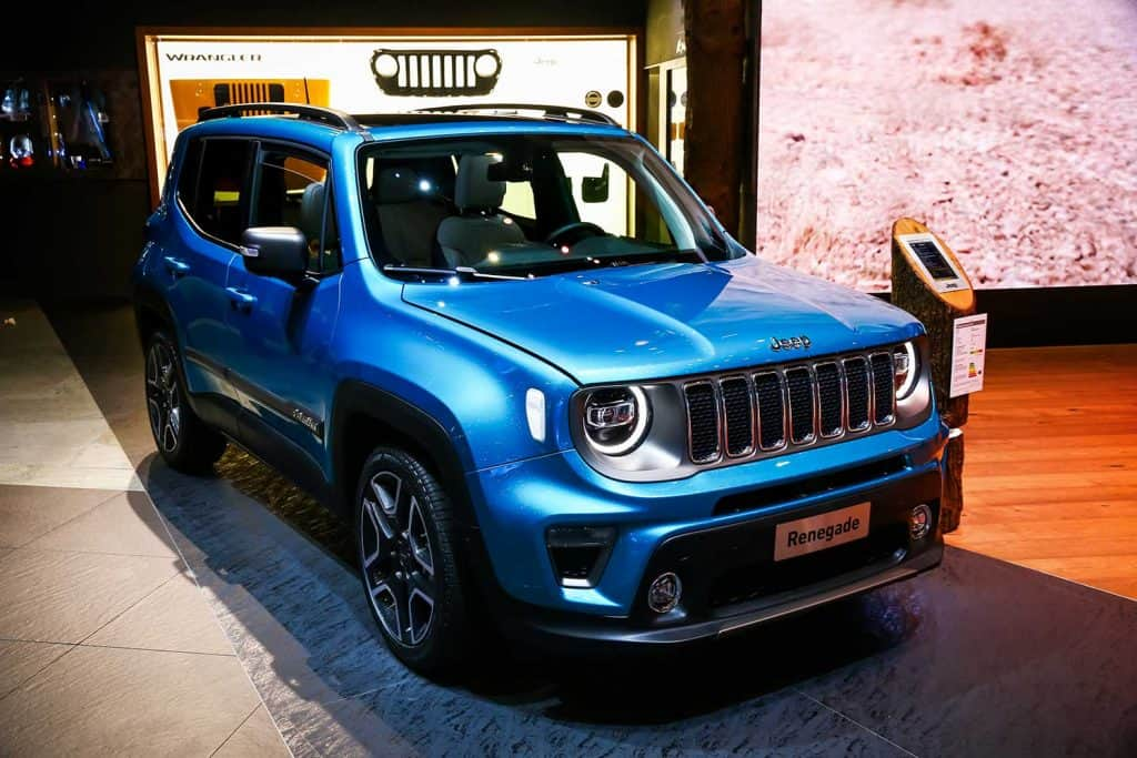Blue off-road car Jeep Renegade at an International Motor Show