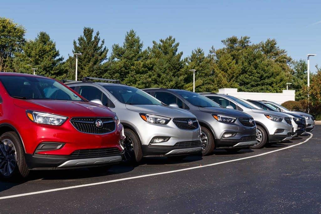 Buick SUV display at a Buick GMC dealership
