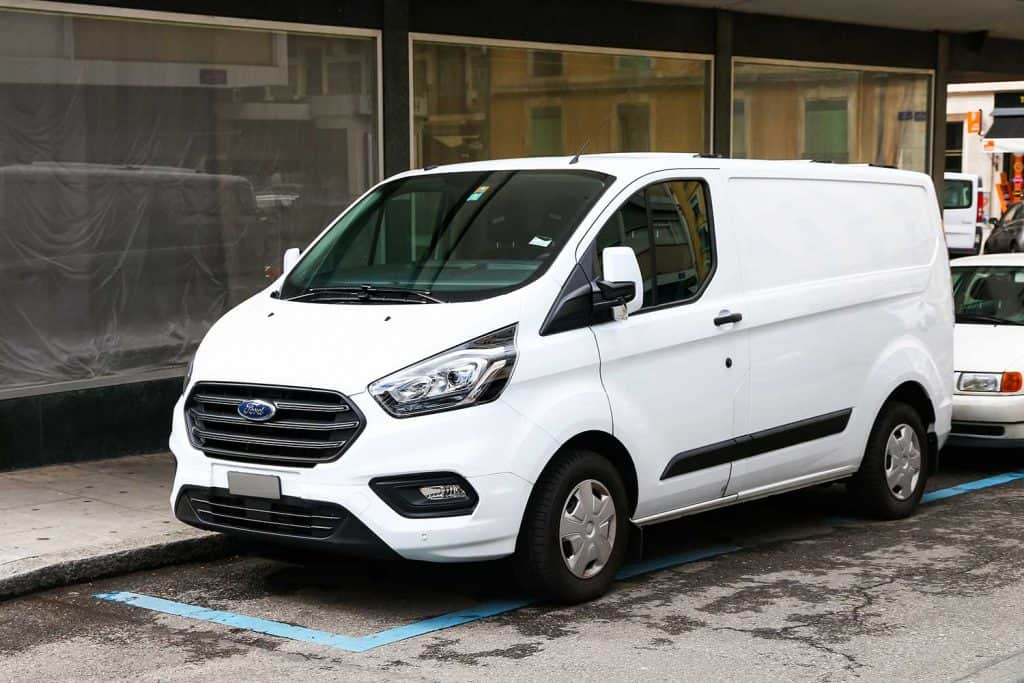 Cargo van Ford Transit in the city street