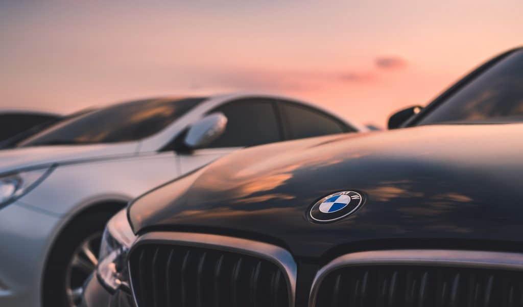 Closeup shot of a BMW during sunset
