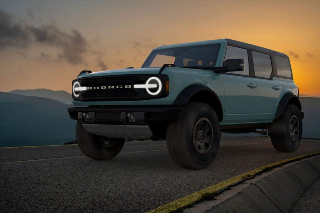 Ford Bronco Wildtrak on a scenic road in the mountains, Does The Ford Bronco Come With Leather Seats?