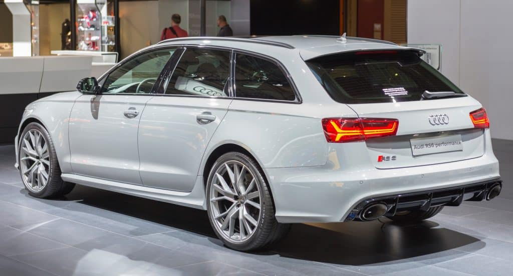Gray Audi RS6 Avant high performance luxury estate car. The RS6 is the high power version of the Audi A6 luxury car.