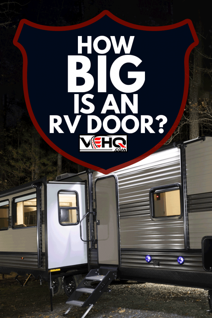 Long trailer at a campsite at Jordan Lake in late autumn, How Big Is An RV Door?